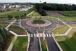 Roundabout viewed from south on Essex Drive