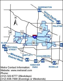 Schaumburg Illinois Map.Metra Rail Train Service Village Of Hoffman Estates